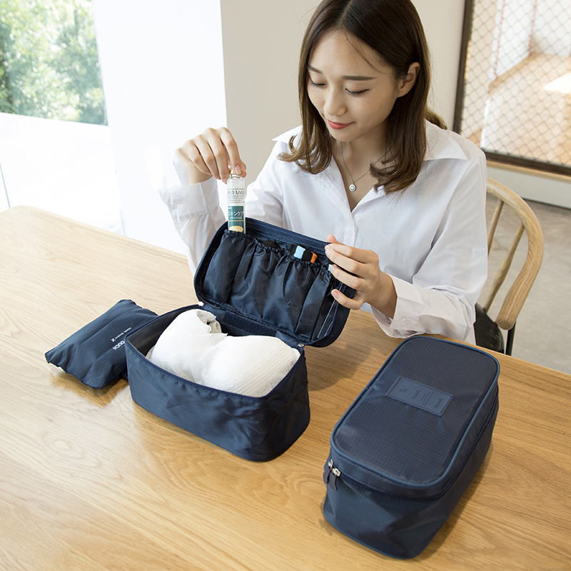 Fashion Portable Clothes Boxes Underwear Bra Nylon Waterproof Packing Bins Makeup Organizer Cosmetic Bags Travelling Bags
