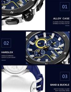 Image 2 - Relogio Masculino MEGIR Men Watch Top Luxury Brand Chronograph Calendar Sports Wristwatch Military Army Rubber Male Clock 2053