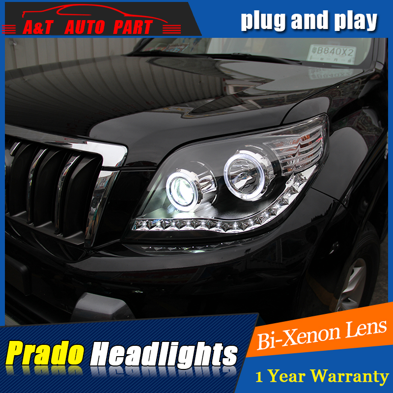 Car Styling For Toyota PRADO headlights For PRADO LED head lamp Angel eye led DRL front light Bi-Xenon Lens xenon HID hireno headlamp for 2003 2009 toyota land cruiser prado headlight assembly led drl angel lens double beam hid xenon 2pcs