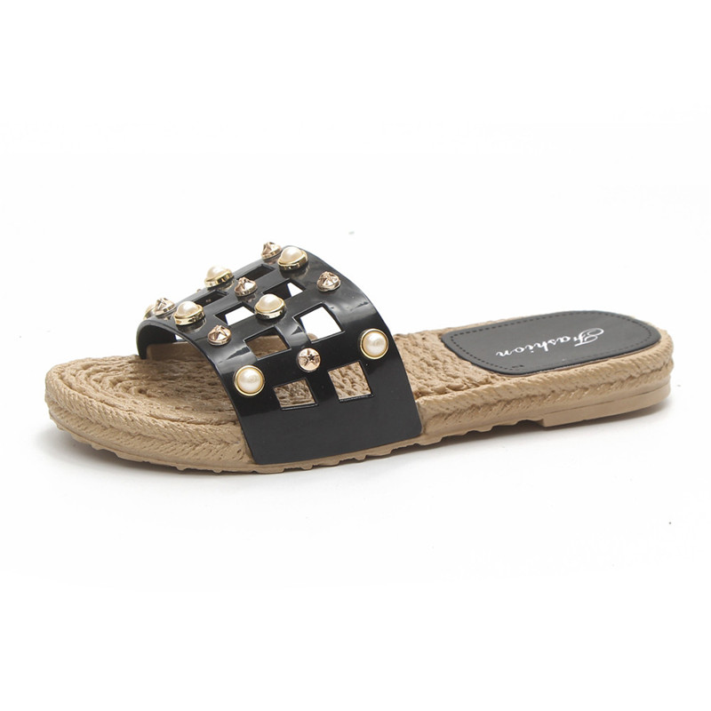 2018 New Summer Pearl Women Slippers Sandals Flip Flops Flats Beach Platform indoor and outdoor Shoes 2017 summer pearl women slippers velvet sandals flip flops slip on flats woman beach platform women shoes plus size 35 39