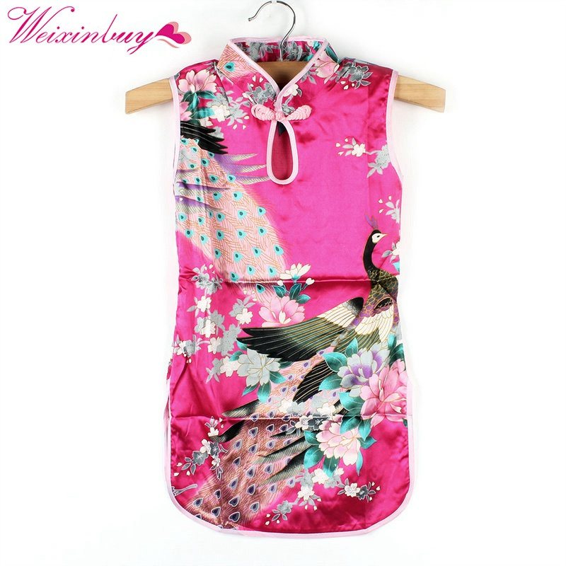 2017 New Summer Chinese Qipao Child Girls Baby Peacock Cheongsam Floral Pattern Dress 2-8Y Clothes Hot free shipping new red hot chinese style costume baby kid child girl cheongsam dress qipao ball gown princess girl veil dress