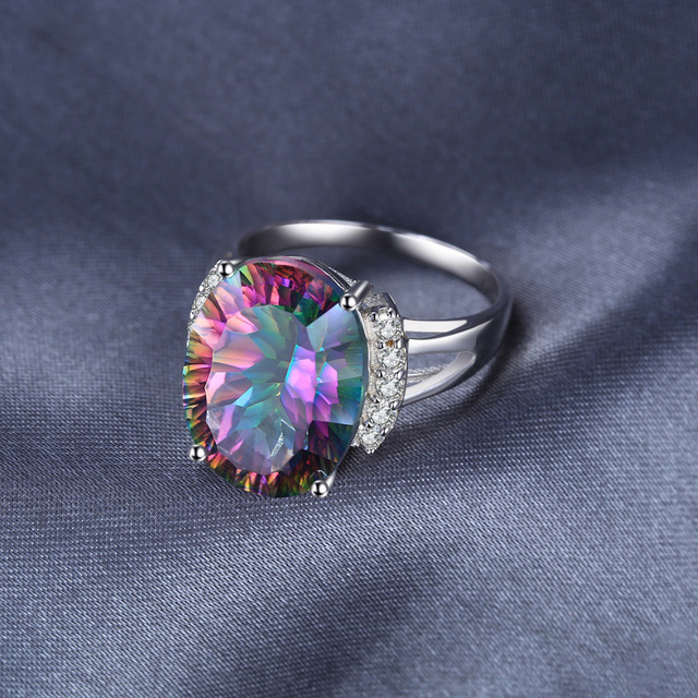 Huge 13ct Natural Rainbow Fire Mystic Topaz Engagement Ring Genuine Solid 925 Sterling Silver Vintage Fashion Jewelry For Women