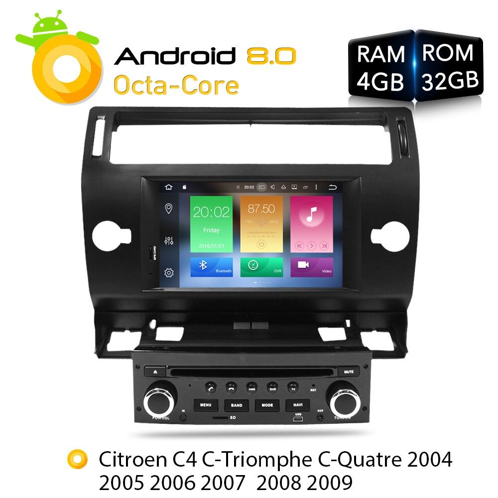 Android 8.0 Voiture Lecteur DVD GPS Glonass Navi pour Citroen C4 C-triomphe C-quatre 2005 2006 2007 2008 2009 Radio Audio Stéréo