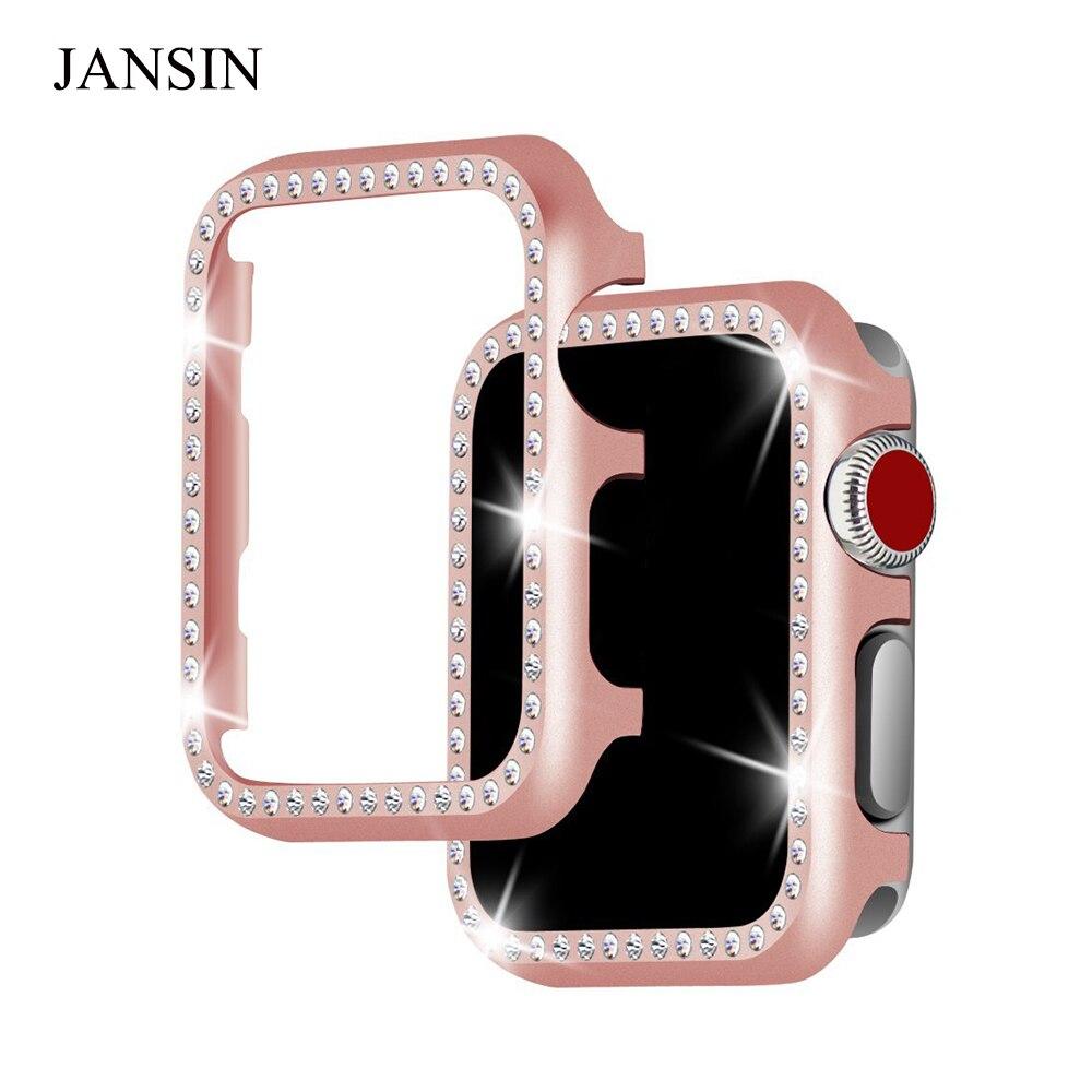 JANSIN metall diamant schutzhülle für apple watch 38mm 42mm serie 3 2 1 iwatch fall abdeckung frauen Armband