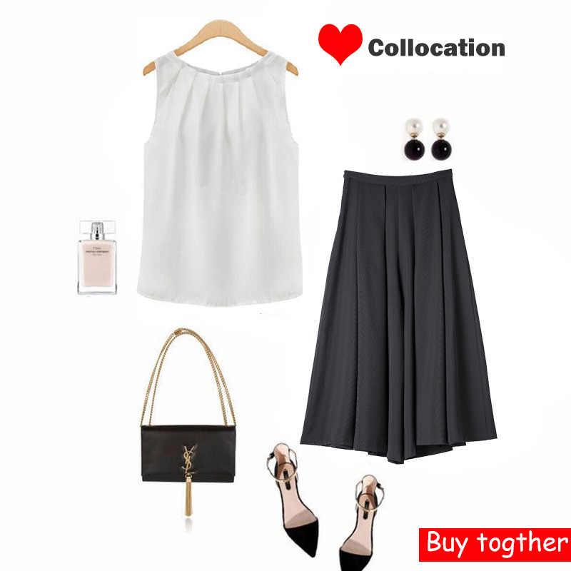بلوزات نسائية بلوزات أبيض أسود بدون أكمام قميص أسود بلوزات رقبة دائرية مطوي OL Style 2019 صيف حار دروبشيب غير رسمي Harajuku