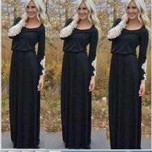 2016 новая коллекция весна летнее платье женщин мода нежный осень носить длинные рукава шваброй пол О-Образным Вырезом Чешские платье