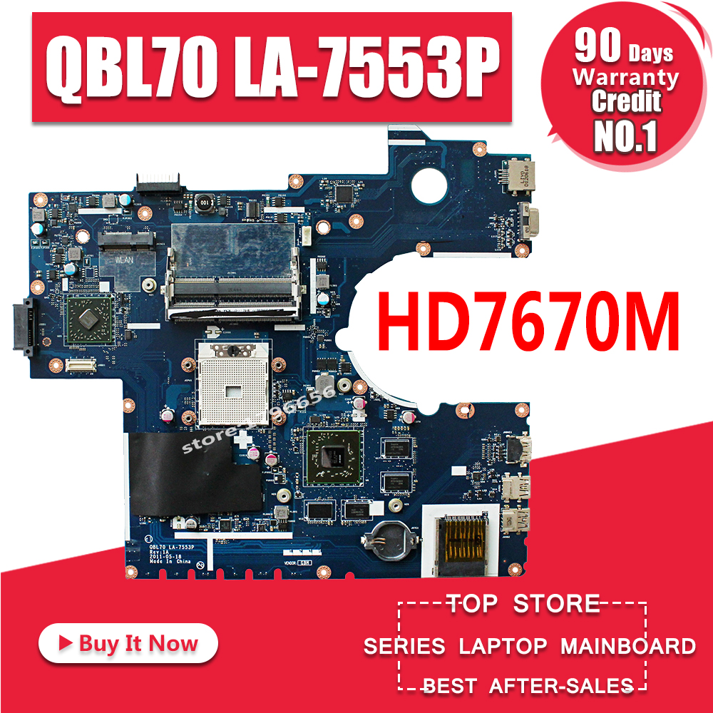 LA-7553P HM7670M ASUS K73TA Laptop for K73t/X73t/La-7553p/.. Mainboard QBL70