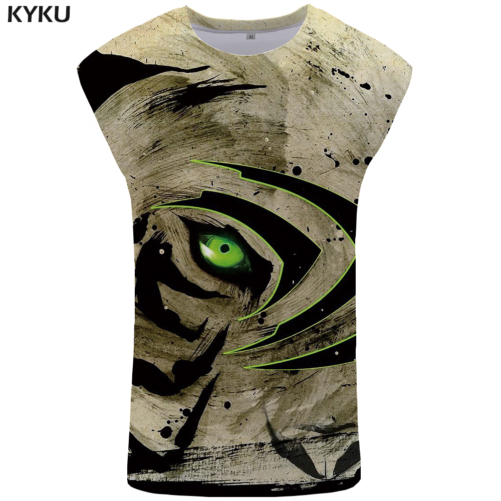 KYKU Tiger   Tank     Top   Men Eye Singlet Animal Stringer Ftness Clothing Undershirt Mens Bodybuilding Sleeveless Shirt muscle
