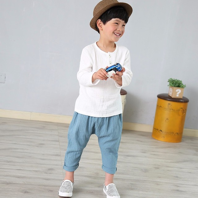 Linen 2018 Cotton Baby Boy Girl Summer T Shirts New Toddler Comfortable Tops Tee Children Clothing Kids Button 80-130CM Height