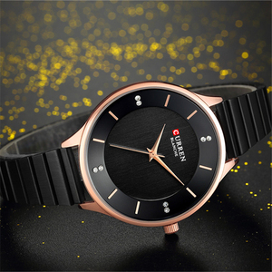 Image 2 - CURREN reloj con diamantes de imitación para mujer, pulsera de acero inoxidable, de cuarzo, femenino, 2018