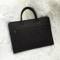 Индивидуальные Вощеная воловья Бизнес Мужские сумки натуральная кожа вешалки классические для отдыха ручной вязки