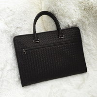Customized waxed cowhide business man bags genuine leeather hangbags Classic leisure Hand knitted