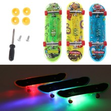 2018 New 2pcs LED Mini Skateboard Finger Board Kids Toy Gifts Baby Toy(China)