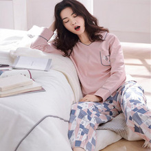 Women Cotton Autumn Winter Pajamas Set Casual Print Female Suit Long Sleeve Sleepwear