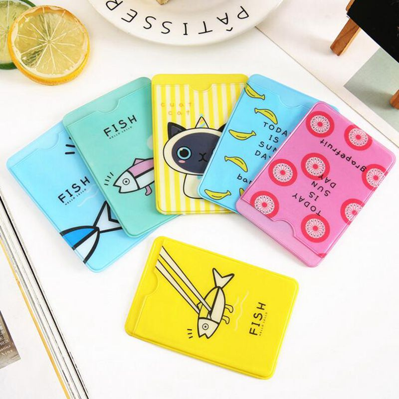 2019 New 2 Layers Cute Student ID Card Sets Cartoon Fish PVC Card Holder Credit Students School Bus Business Cards Protector