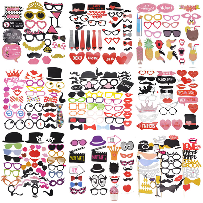 1 Set Wedding Decoration Photo Booth Props DIY Mr Mrs Masks Hat Photobooth Props Photo Baby Bridal Shower Wedding Party Supplies