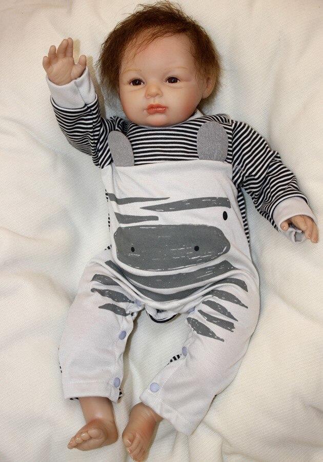 Réaliste doux vinyle silicone reborn bébé poupées filles garçons ressemblance npkdoll 55 cm souriant bebe anniversaire cadeau de noël pour enfant