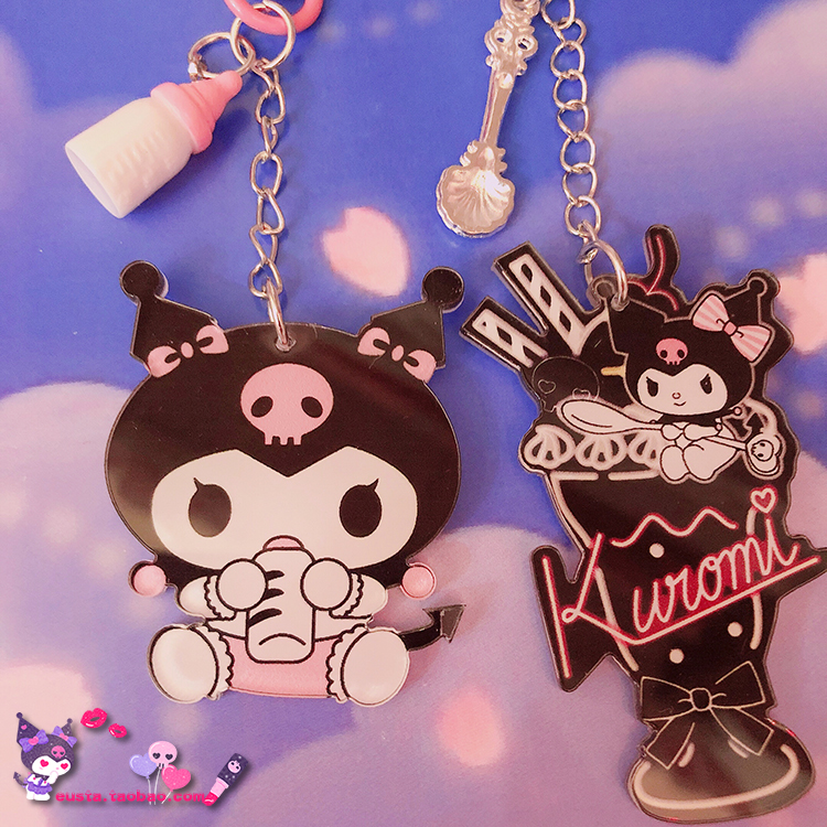 1pc Cartoon Kuromi Action Figure Doll For Girls Keychain Acrylic Key Chain Cute Funny Pendant