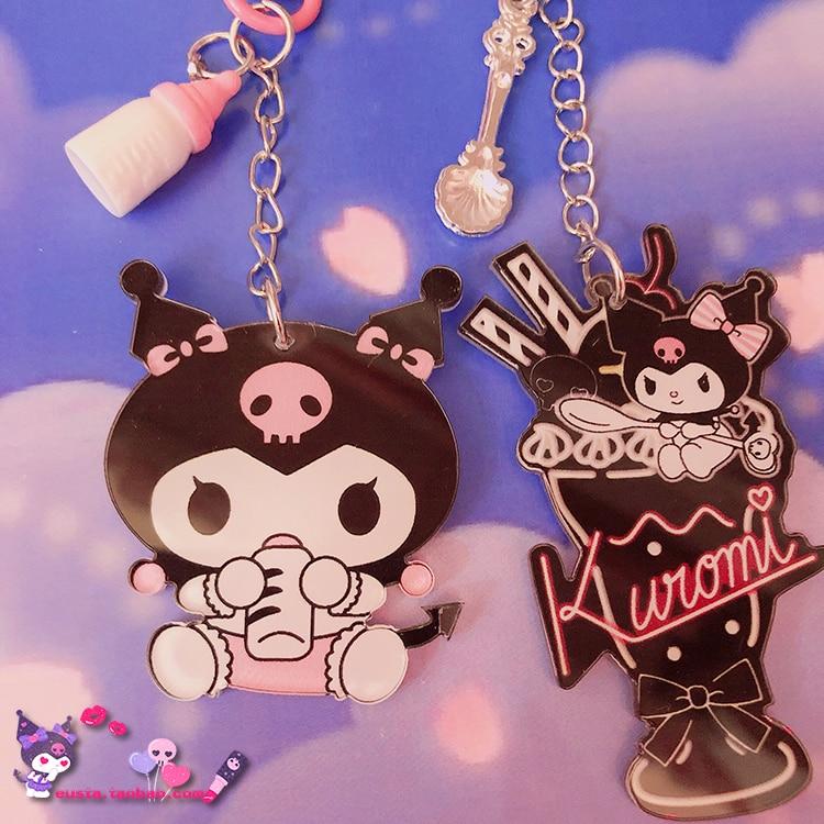 1pc Cartoon Kuromi Action Figure Doll For Girls Keychain Acrylic Key Chain Cute Funny Pendant