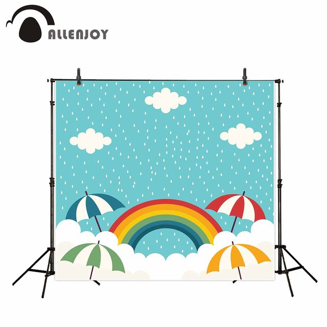 allenjoy children rainbow umbrella clouds small dots photography