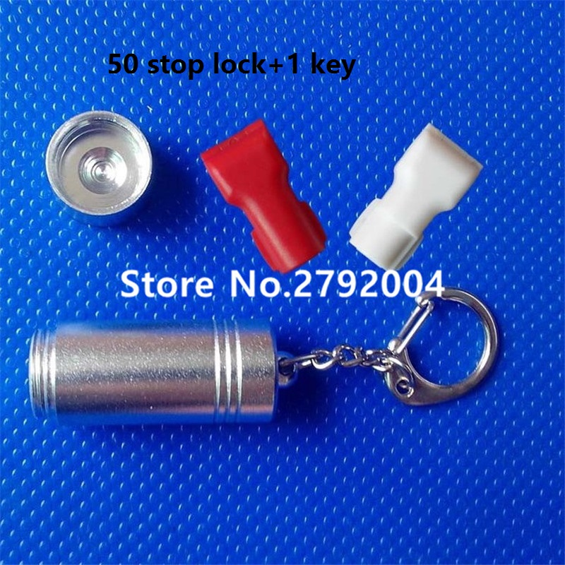 51xWholesales plastic EAS security stop lock anti-theft for display hook in retail shop with magnetic key red white black