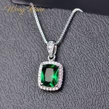 Wong Rain – collier pendentif classique en argent 100% Sterling 925, pierre de naissance émeraude, or blanc, bijoux cadeaux, vente en gros