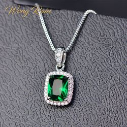 Wong Rain Classic 100% 925 Sterling Silver Emerald Gemstone Birthstone White Gold Pendant Necklace Jewelry Gifts Wholesale