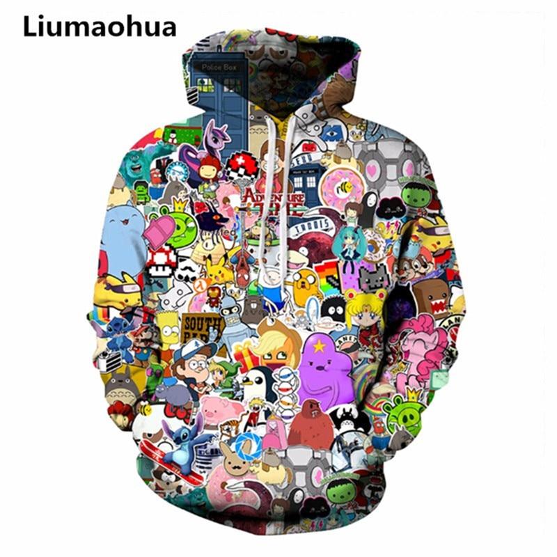 Liu Maohua 2018 new Pokemon / adventure time 3D digital printing fashion casual unisex anime hoodie