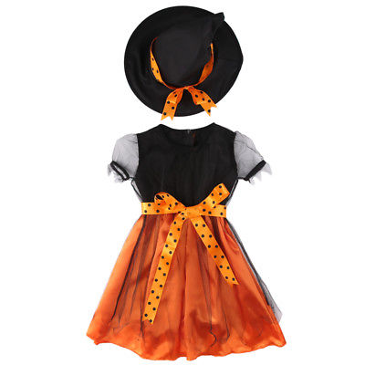 2017 New Witch Toddler Kids Girl Halloween Fancy Bowknot Mesh Dress Party Costume Clothes + HAT Set 2pcs