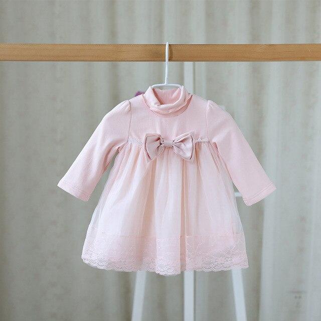 2016 новая осень сладкий детская одежда платье для новорожденных девочек марлевые кружева бантом симпатичные цвет платья девушки одеваются одежду ребенка