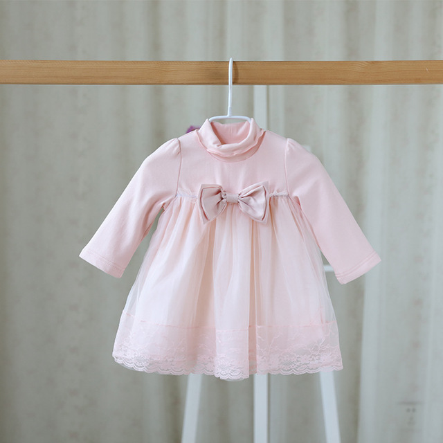 31724dc66639 2016 new autumn sweet children s wear dress for baby girls gauze lace  bowknot cute dress color