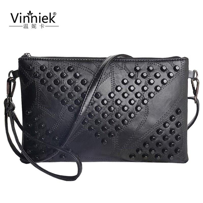 ФОТО 2017 Genuine Leather Fashion Women Messenger Bags Ladies Crossbody Bags Solid Soft Sheepskin Leather Rivet Satchels Shoulder Bag