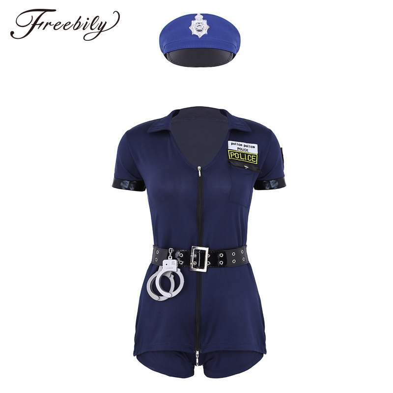 <font><b>Sexy</b></font> Female <font><b>Cop</b></font> Police Officer Uniform Policewomen Costume Halloween Adult Women Police Cosplay Fancy Dress image