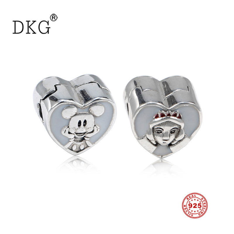 Beads 925 Sterling Silver Bead Cute Mouse And Queen With Enamel Open My Heart Clip Charms Fit Original Dkg Bracelet Bangle Diy Jewelry