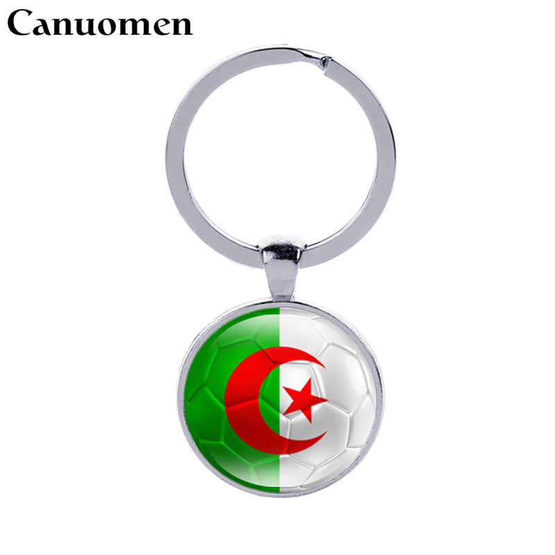Canuomen Algeria Flag Football Keychains Estonia Andorra Glass Cabochon Car Key holder Accessories Countries Flags Men Keyrings