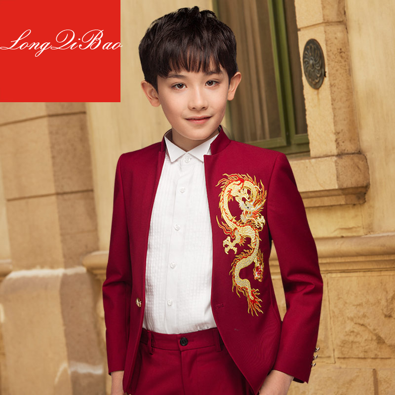 High quality boy dress set embroidered dragon host children's suit flower girl Chinese stand collar dress show suit леска starline d 3 0 мм l 15 м звезда блистер пр во россия 805205013