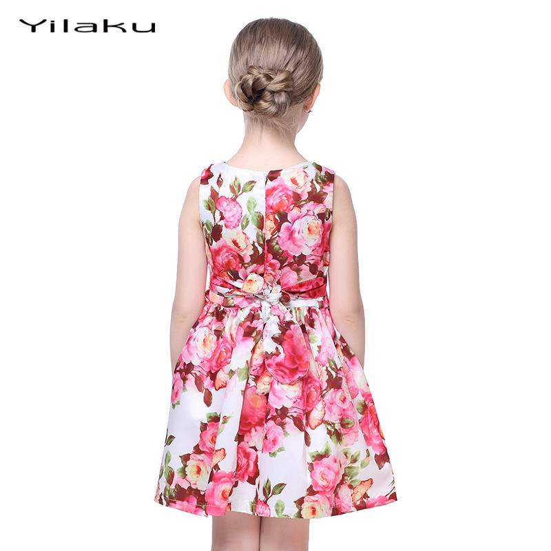 Floral Print Girls Dress 2017 Summer Sleeveless Girls Clothes Party Wedding Costume for Kids Dresses Princess Girl Dress CA282 2