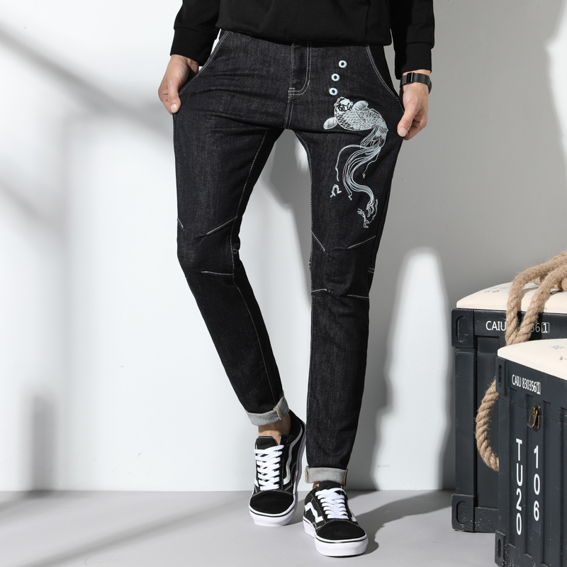 Men High quality Designer Black 3D fish Embroidery Jeans Slim Fit Stretch Denim Casual Pants Trousers for Male Jeans size 38