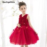 2017 Elegant 3D Flower Girl Dresses Burgundy Summer Ball Gown Formal Events First Commuion Girl Dresses