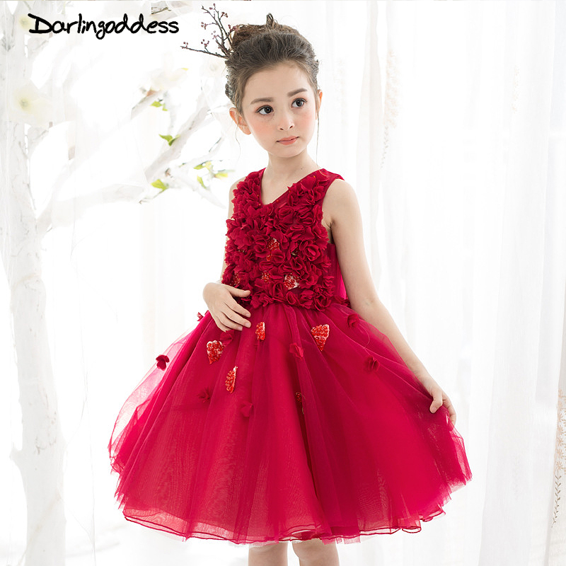 2017 Elegant 3D   Flower     Girl     Dresses   Burgundy Summer Ball Gown Formal Events First Commuion   Girl     Dresses   for Kids Wedding Gowns