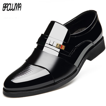 Four Seasons Pointed Toe Mens Dress Shoes 2019 Breathable Black Brown Wedding Shoes Formal Suit Office Shoes Man Leather Shoe
