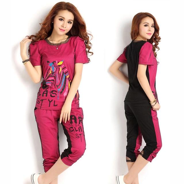 Black Patchwork Lady Summer Tracksuits Plus Size L-4XL Short Sleeve T-Shirts + Capris Pants Women Printed Clothing Sets