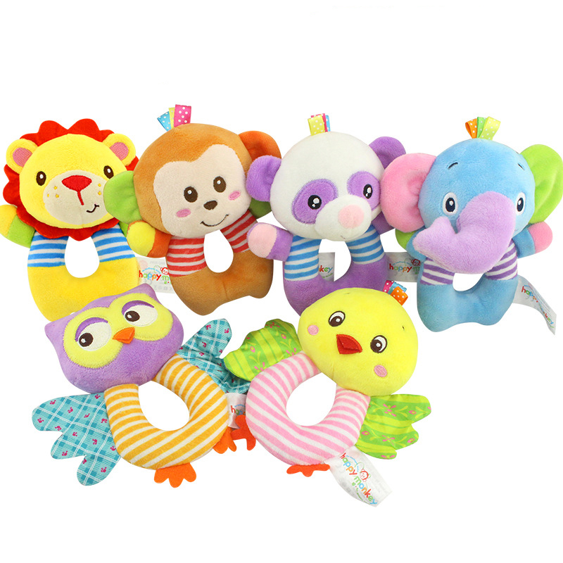 1pc Animal Plush Stuffed Soft Baby Rattle Stick Toys Hanging Hand Bells For Children Newborn Gift Grasp Game Elephant Bell