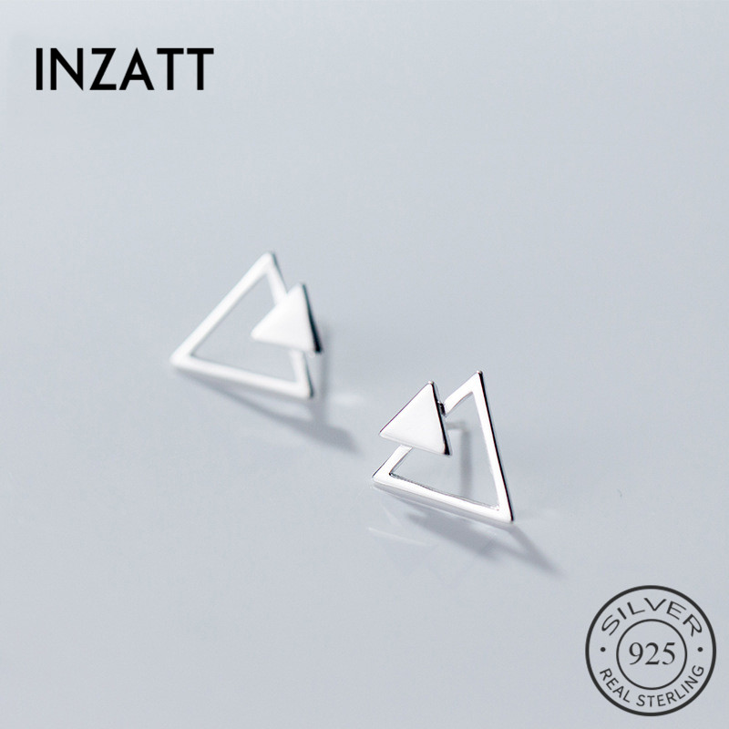 INZATT OL Geometric Triangle Stud Earrings Real 925 Sterling Silver For Women Engagement Fine Jewelry Fashion Accessories Gift