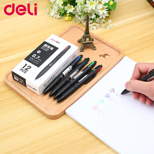 Deli 33390 12pcs/set ballpoint pen Black blue green redof multi-color functional  four colors each 0.7mm Thermostat Pen