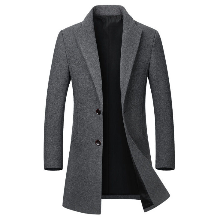 Wool Coat Collar Men's Long Winter Casual High-Quality Slim Cotton