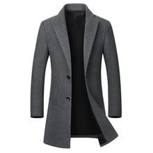 Зимняя шерстяная куртка, мужское высококачественное шерстяное пальто, повседневное тонкое шерстяное пальто с воротником, мужское длинное хлопковое пальто с воротником