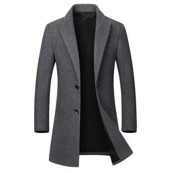 الشتاء الصوف سترة الرجال معطف الصوف عالية الجودة عادية سليم طوق الصوف معطف الرجال طويلة القطن طوق خندق معطف