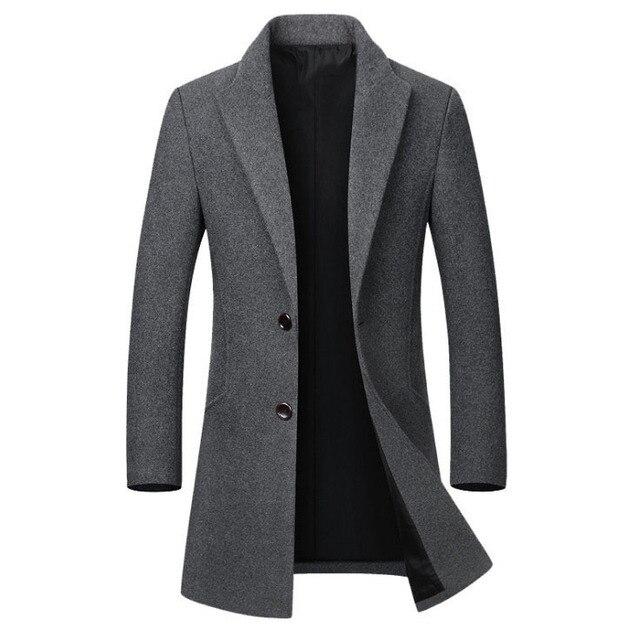 Зимняя шерстяная куртка мужская Высококачественная шерстяная облегающее пальто в повседневном стиле шерстяное пальто с воротником мужская длинная хлопковая куртка с воротником