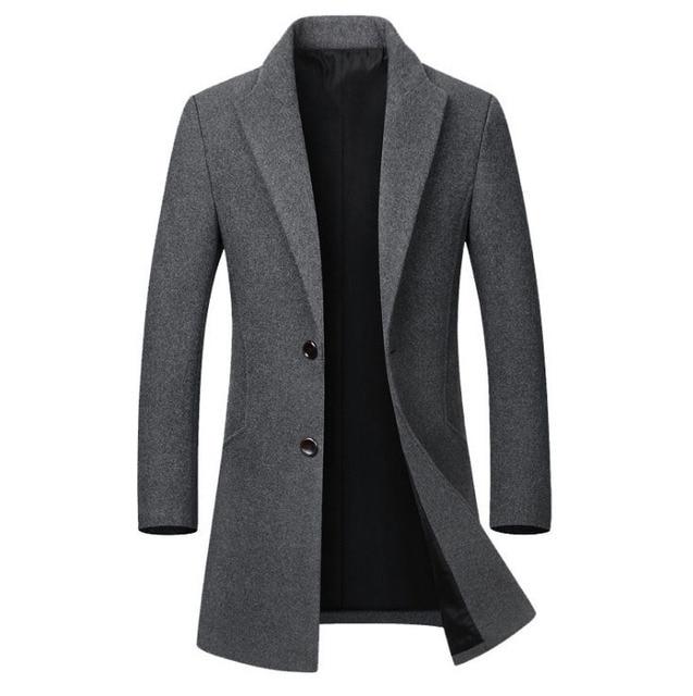 Kış yün ceket erkekler yüksek kaliteli yün ceket rahat ince yaka yün ceket erkek uzun pamuklu yaka trençkot